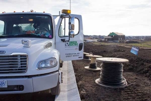 Dakota Electric truck at residential construction site