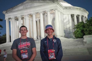 Two Youth Tour students standing in front of the Lincoln Memorial