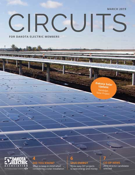 Cover of the March issue of Circuits with a photo of the Randolph solar panels