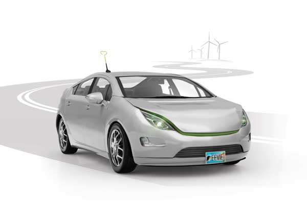 illustration with electric vehicle and wind turbines