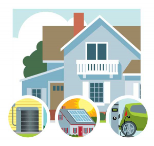 illustration of a house with AC, solar panel, electric vehicle