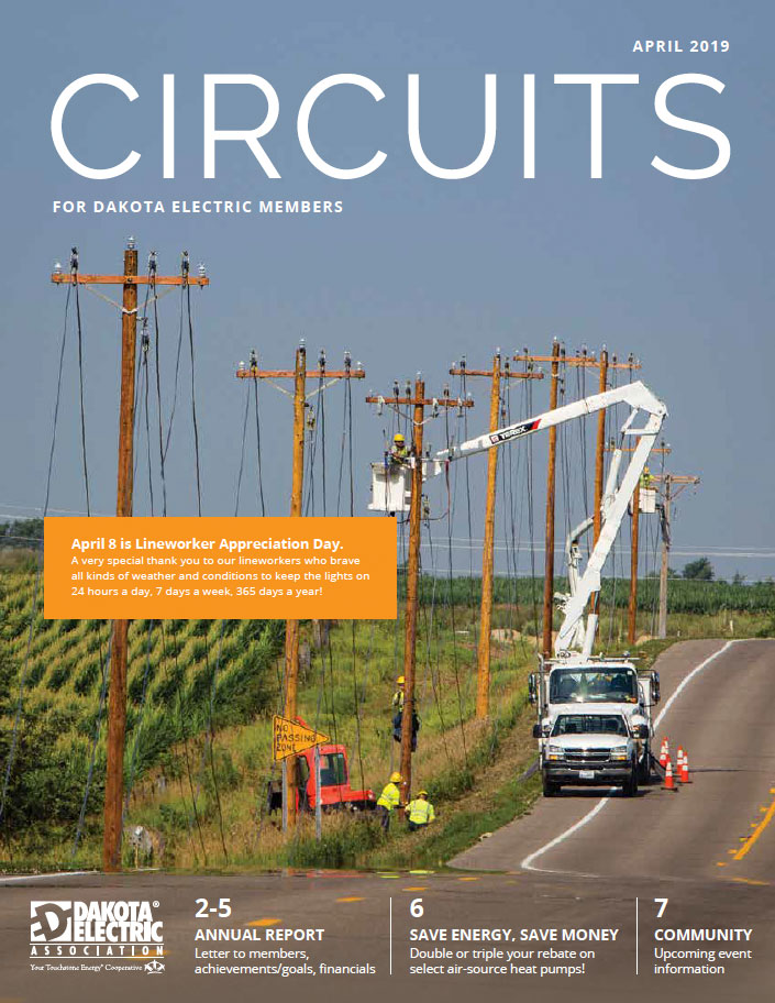 Cover of the April issue of Circuits with a photo of the crews working on lines