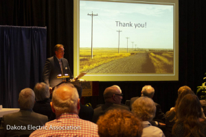 CEO speaking at podium
