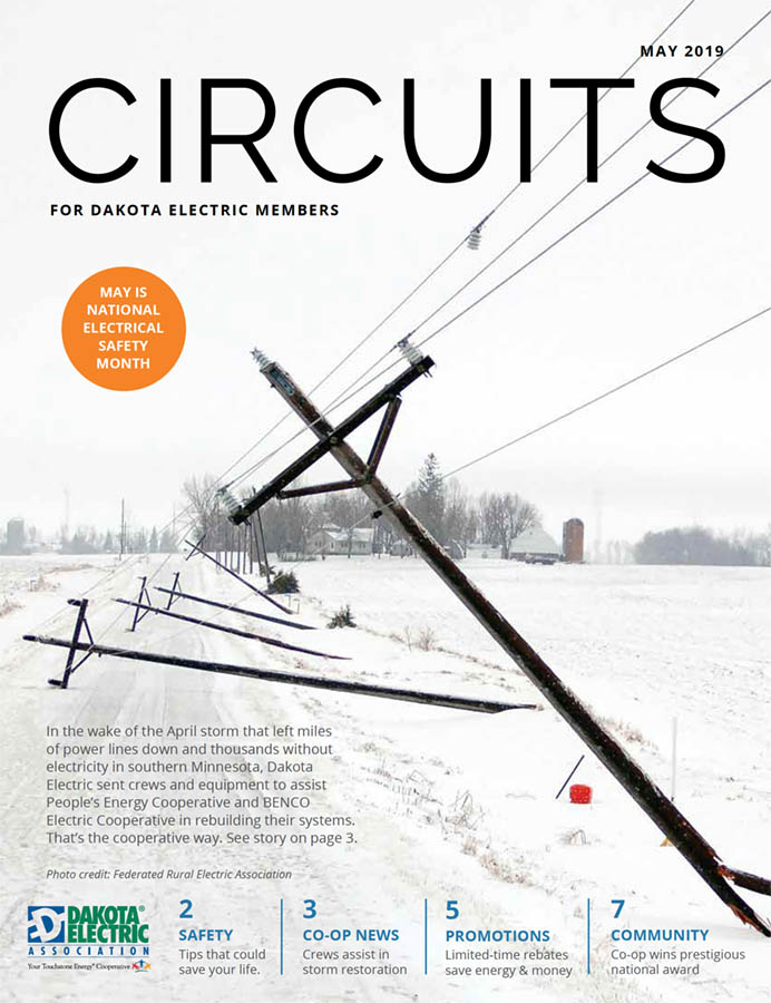 Cover of the May issue of Circuits with a photo of damaged power lines