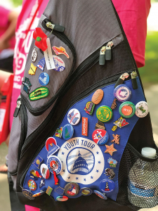 Backpack with pins on it