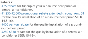dea rebates for heating and cooling
