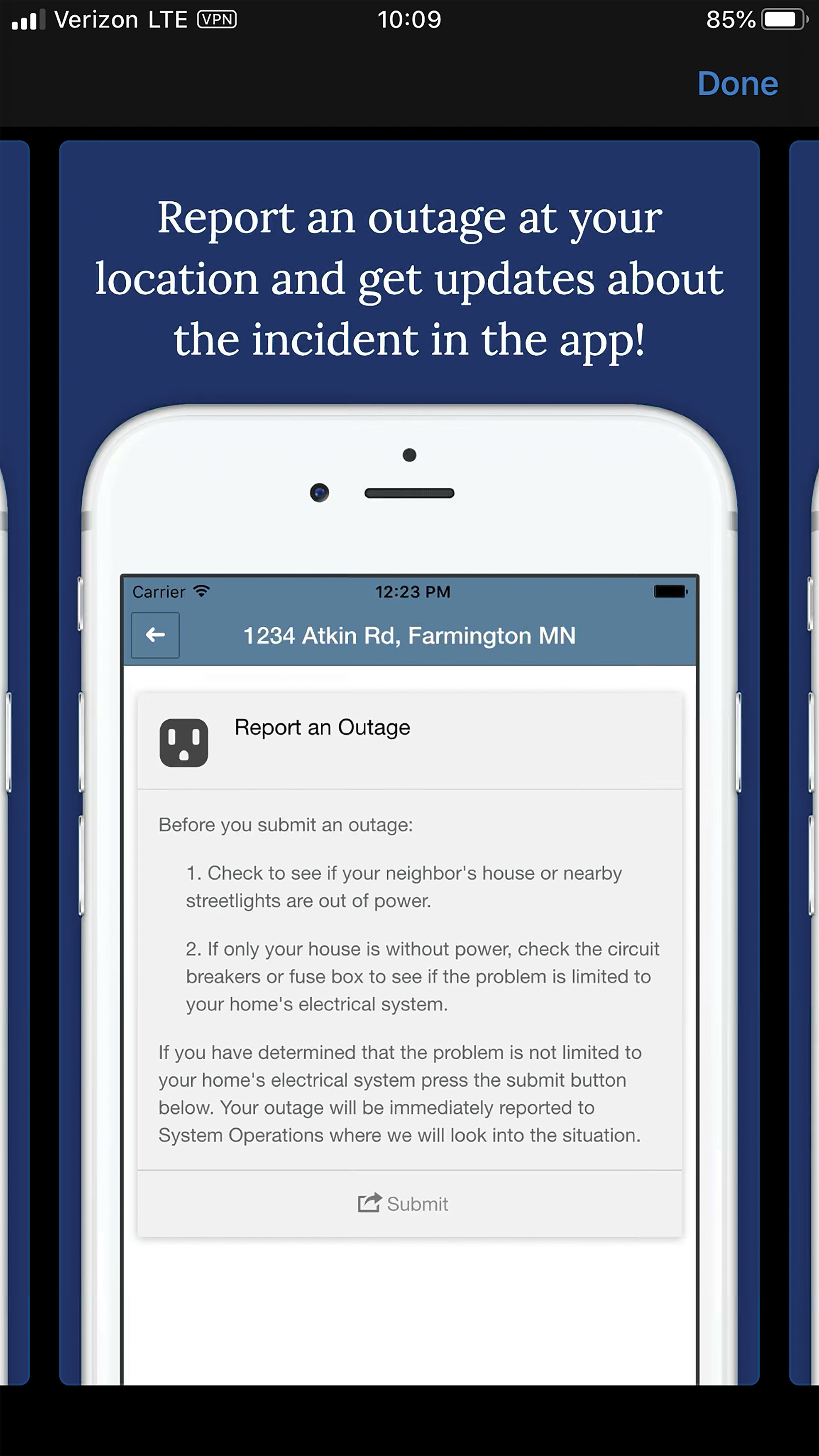 Outage app