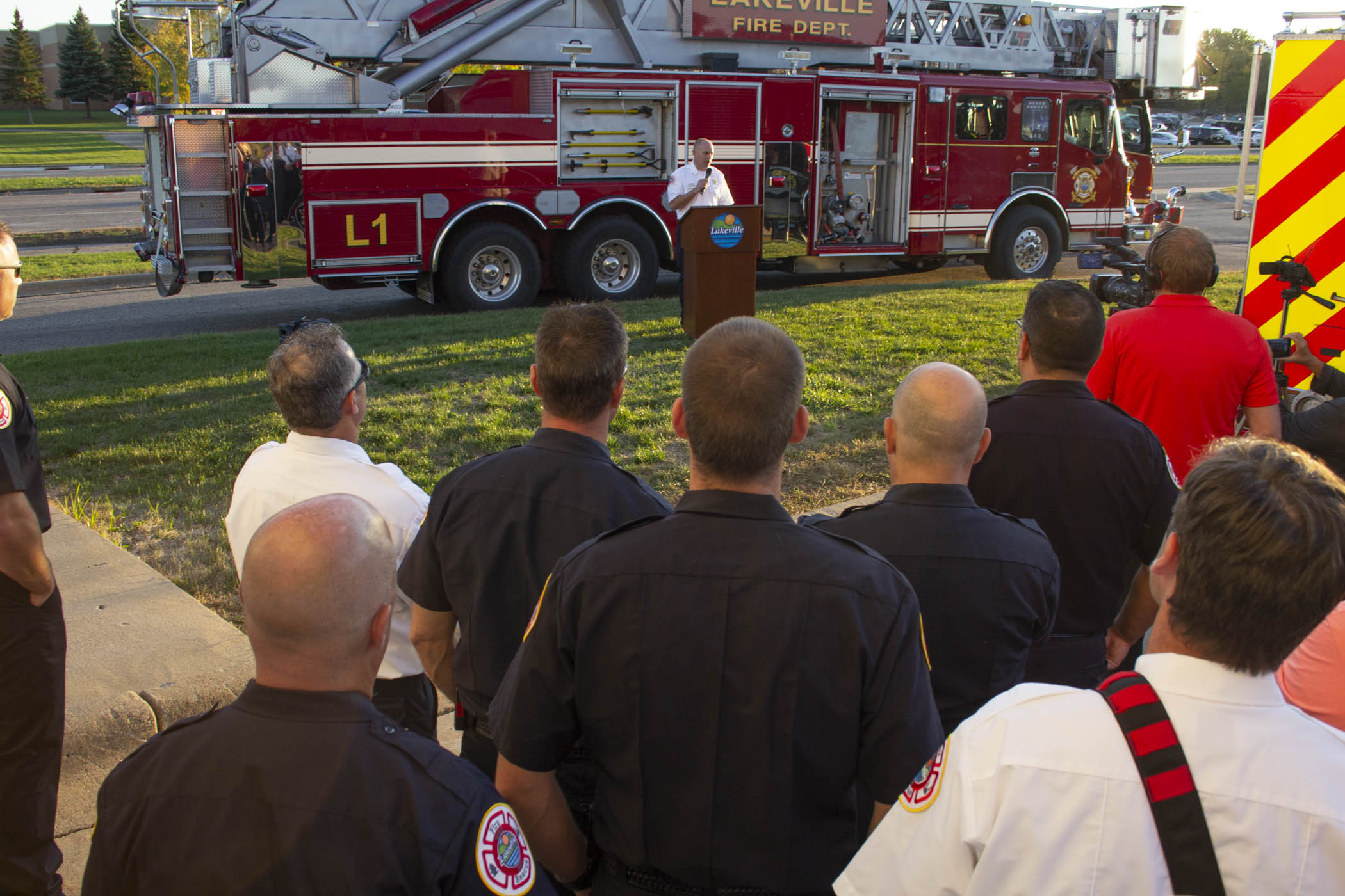 fire chief speaking to crowd